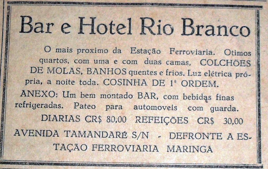 Anúncio de Jornal: Bar e Hotel Rio Branco