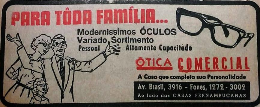 Anúncio da Ótica Comercial - 1968
