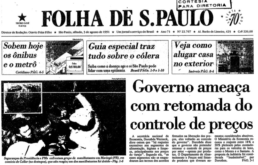Maringá foi sede da primeira manifestação contra Collor - 1991