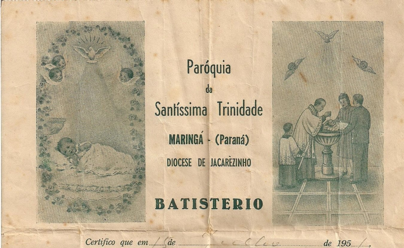 Documento de Batistério - Paróquia Santíssima Trindade