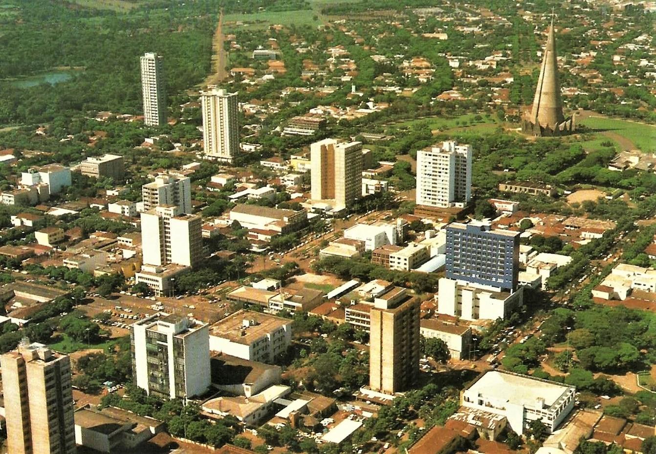 Vista aérea do Centro - Anos 1980