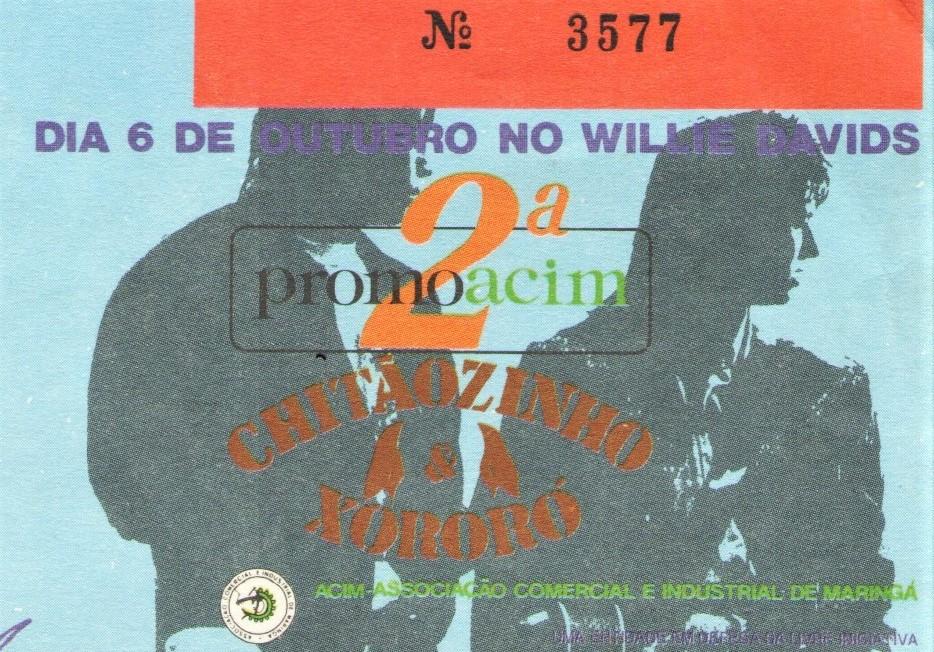 Ingresso do show de Chitãozinho e Xororó - 1990