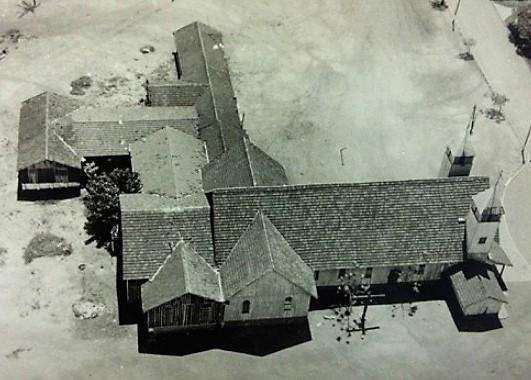 Vista aérea da Catedral de madeira - Anos 1960