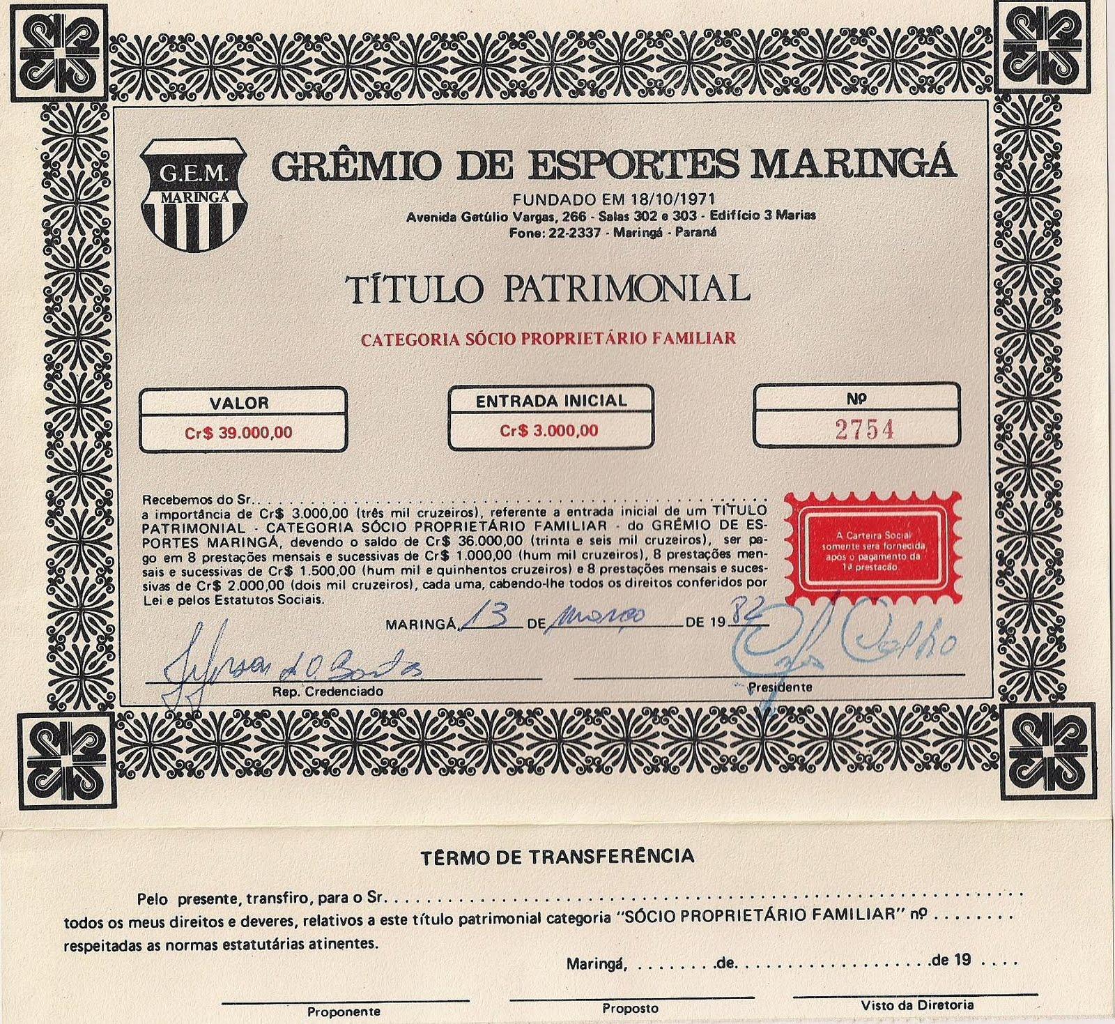 Título Patrimonial do Grêmio de Maringá