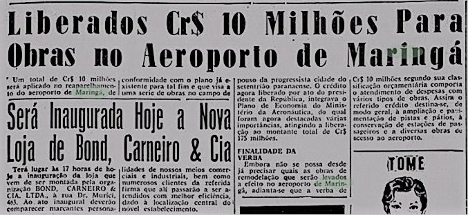 Recursos para o Aeroporto de Maringá - 1959