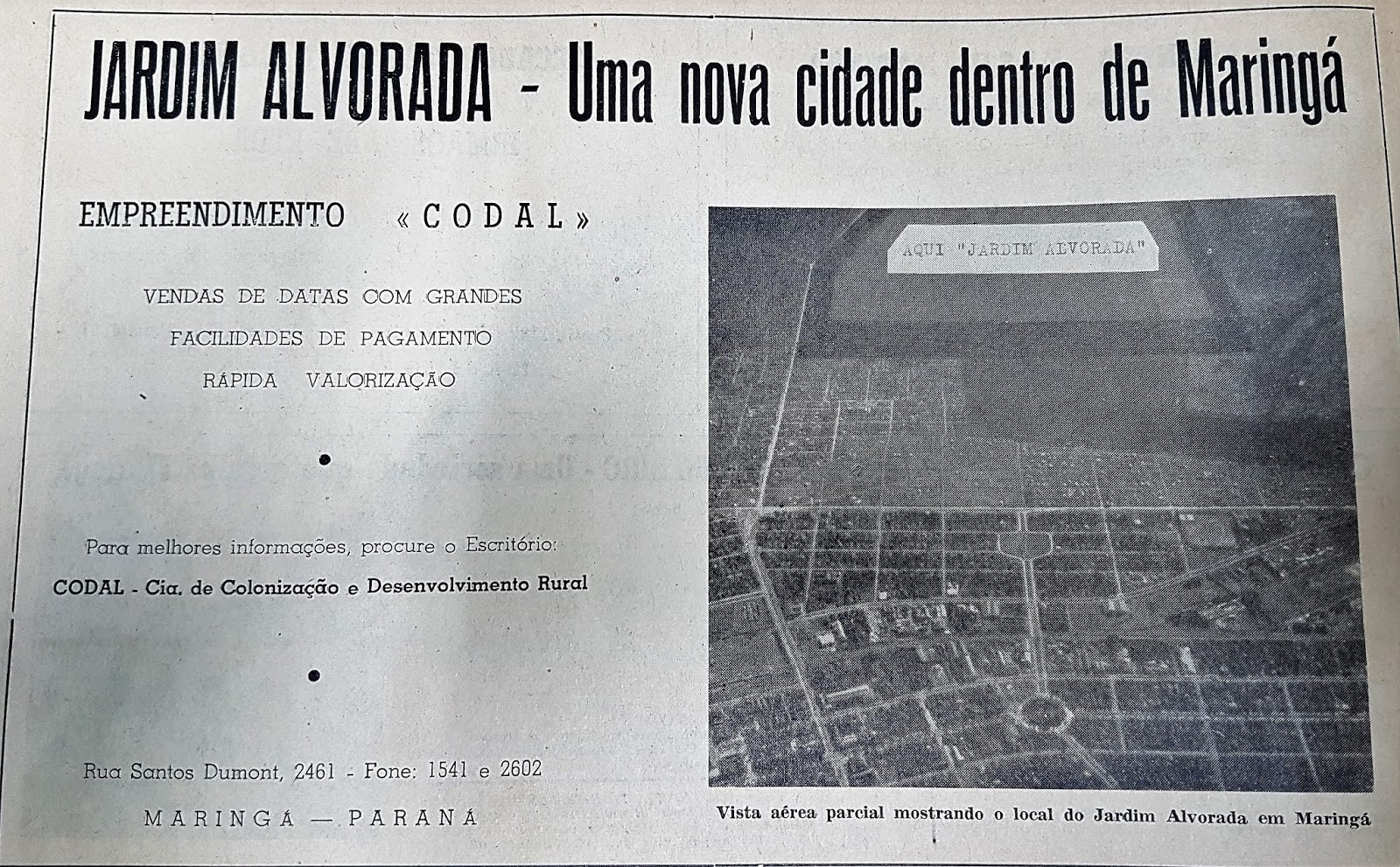 Anúncio do Jardim Alvorada - 1964