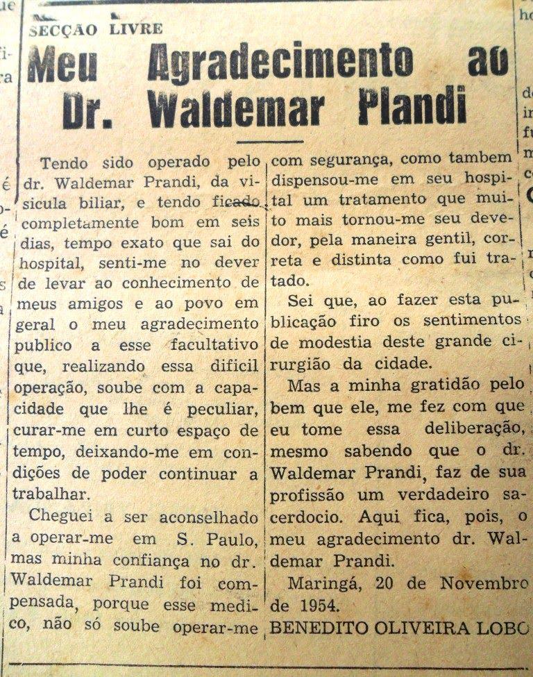 Agradecimento ao Dr. Waldemar Prandi