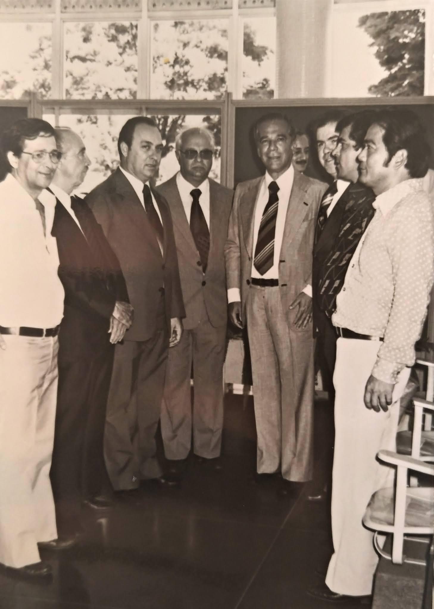 Autoridades no aeroporto - Anos 1970