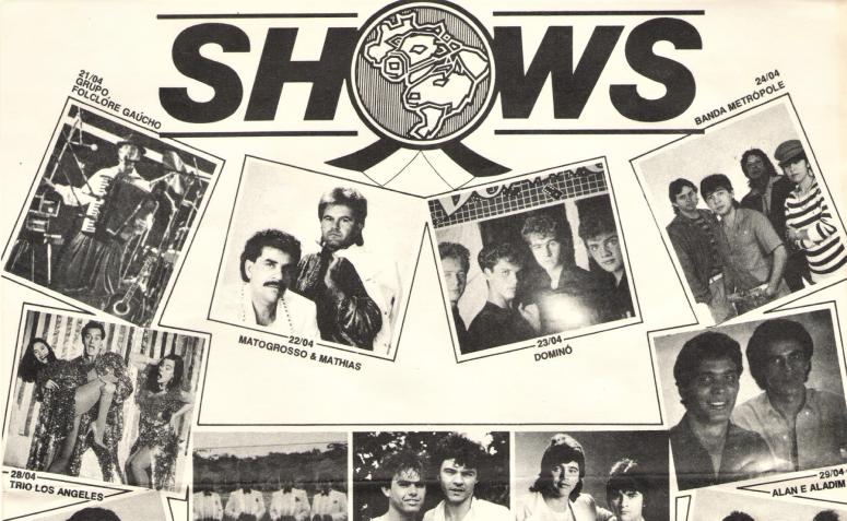 Grade de shows da EXPOINGÁ - 1989