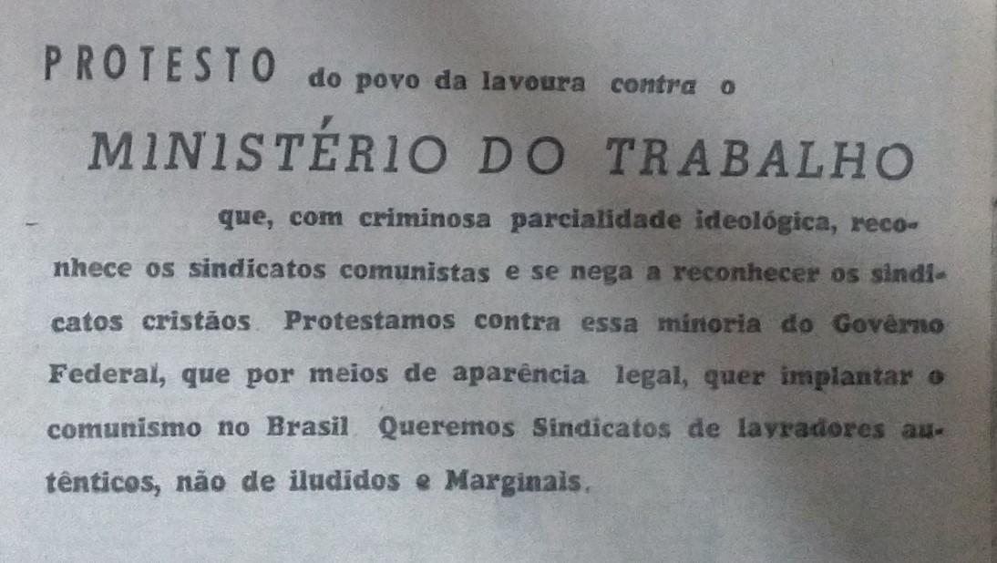 Divulgação da Frente Agrária Paranaense - 1961