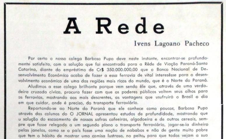 Ivens Lagoano escreve sobre a Rede Ferroviária - 1954