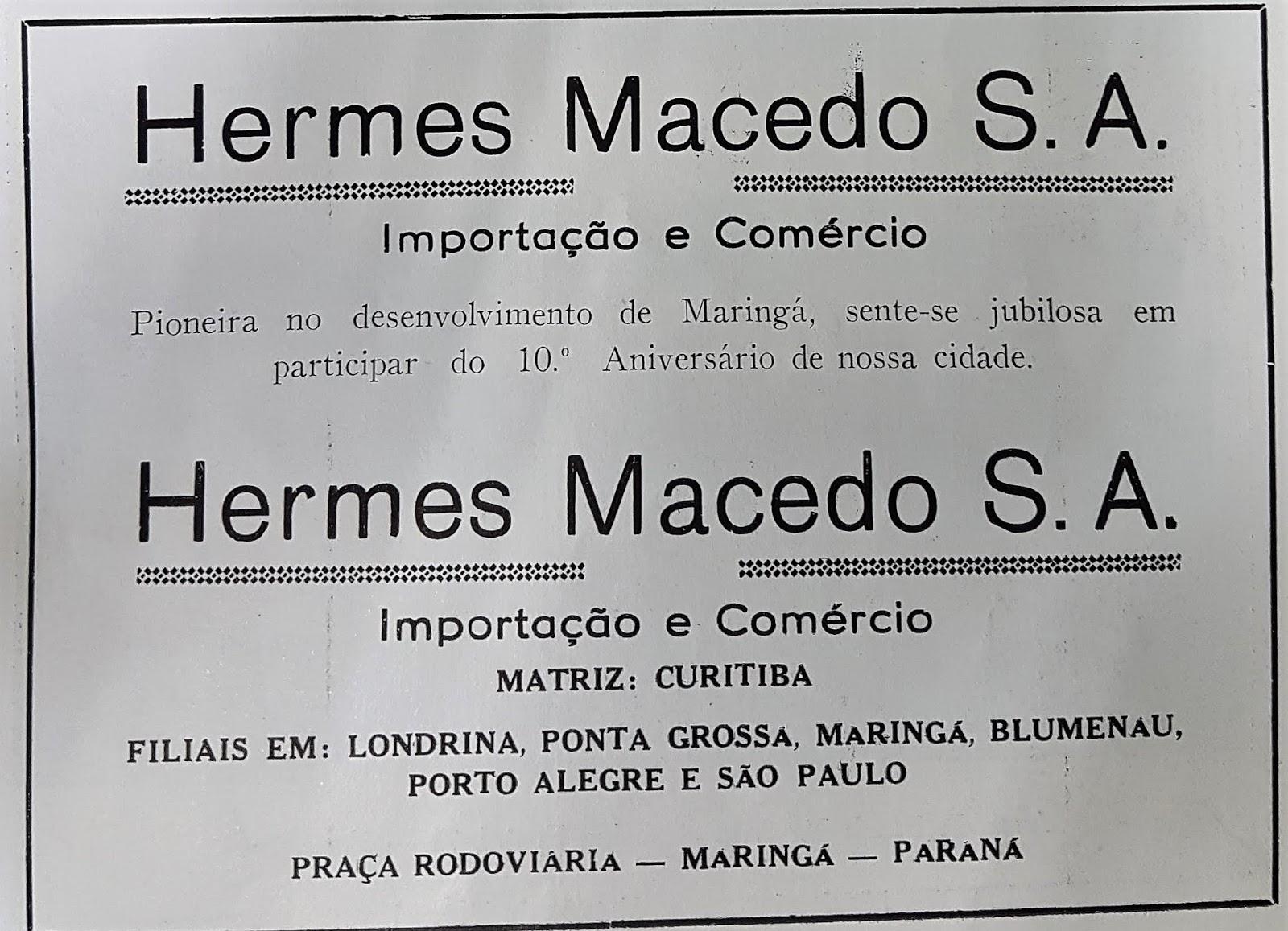 Anúncio da Hermes Macedo S.A. - 1957