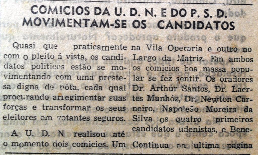 Comícios que movimentaram Maringá - 1954
