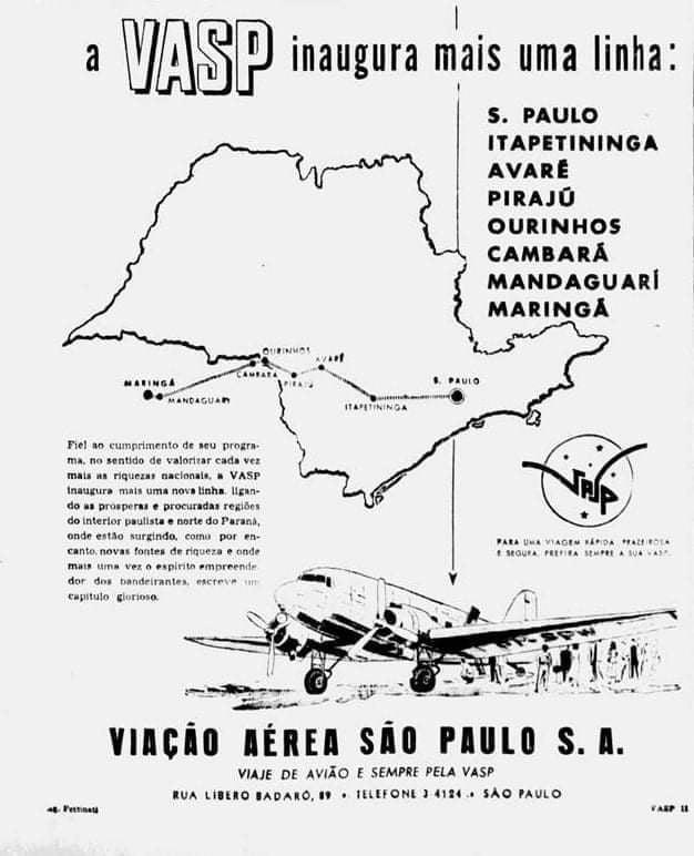VASP começa a operar em Maringá - Década de 1950