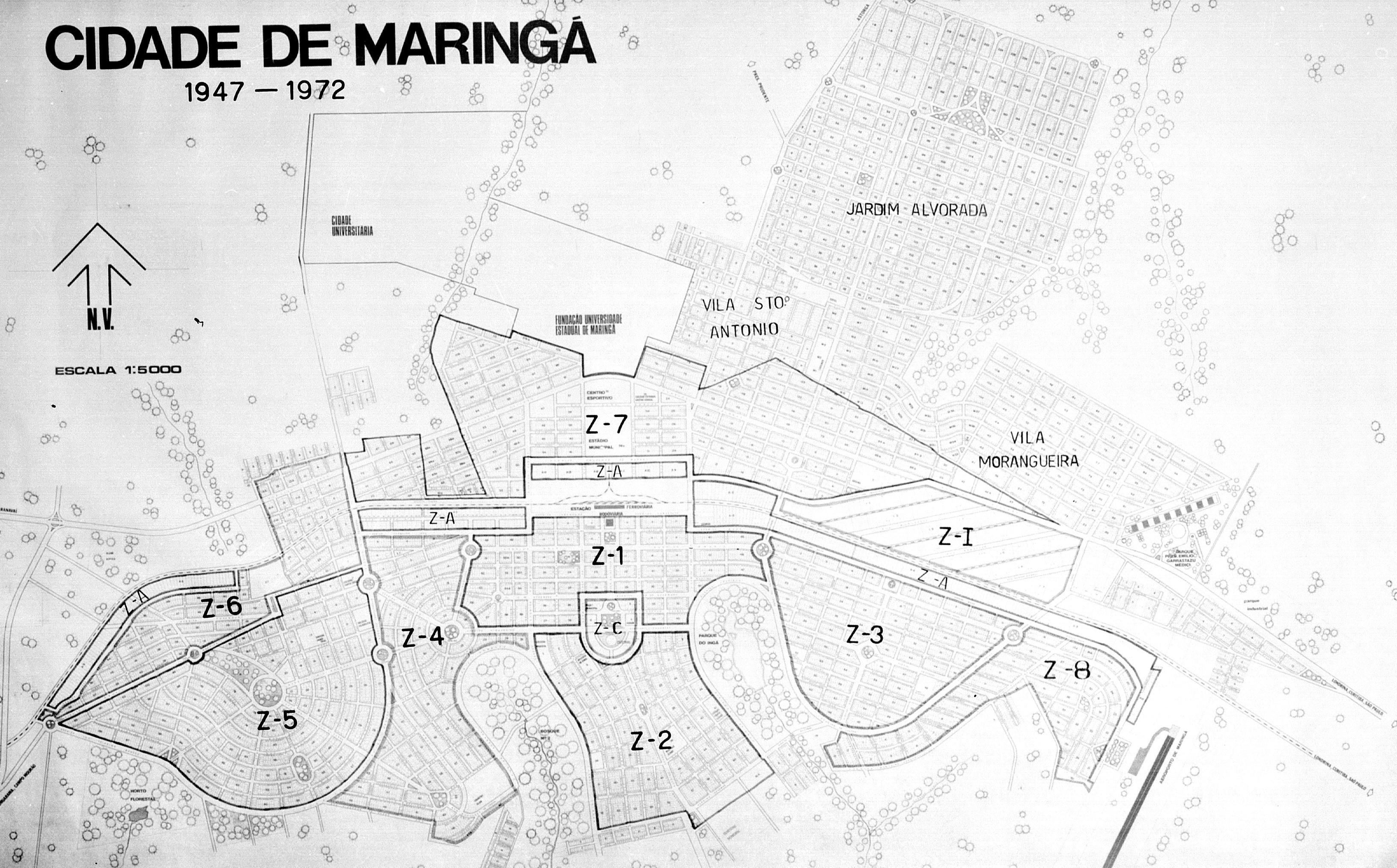 Zoneamento de Maringá em 1972