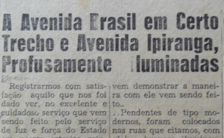 Nota - Instalação de postes de luz na Avenidas Ipiranga e Brasil