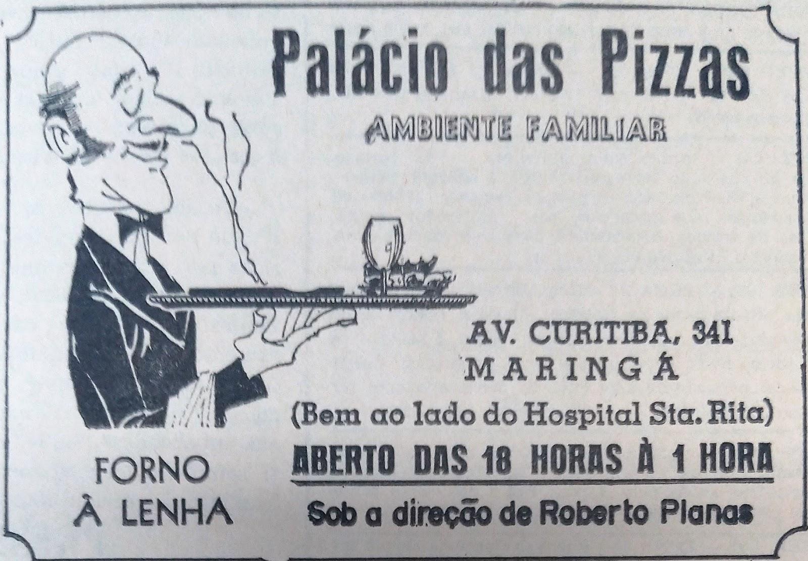 Anúncio: Palácio das Pizzas - 1978