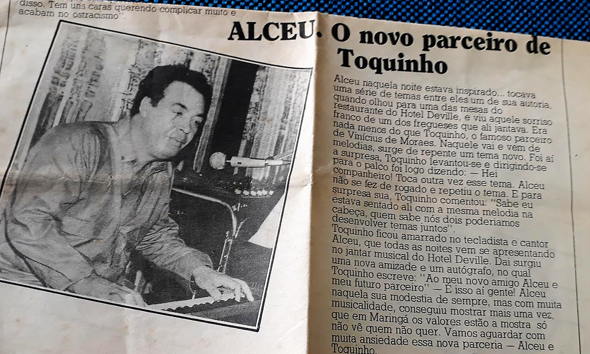 Toquinho e Alceu no restaurante do Hotel Deville - Anos 1980