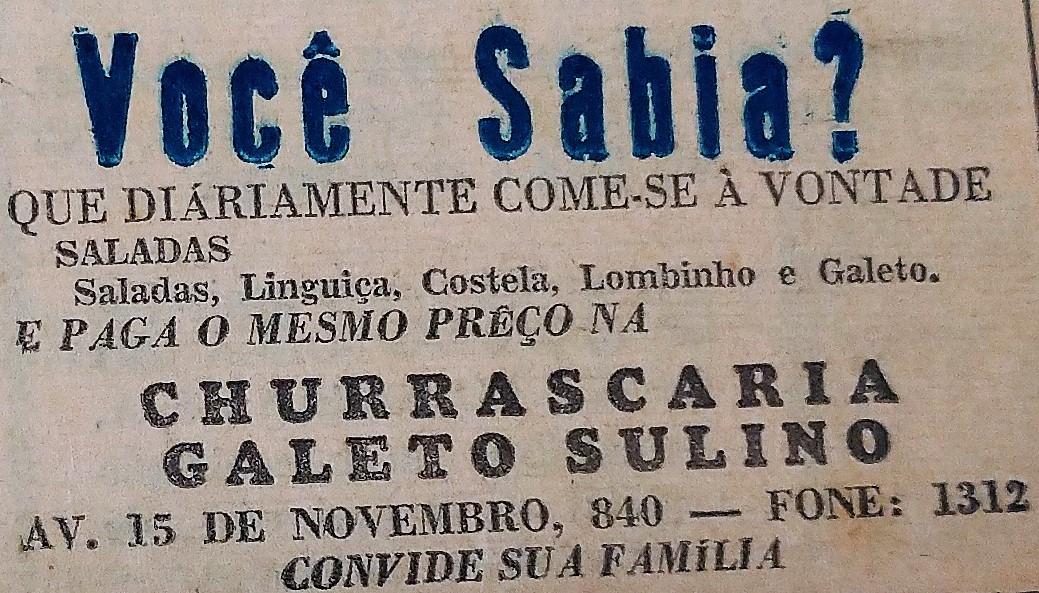 Publicidade do Galeto Sulino - 1962