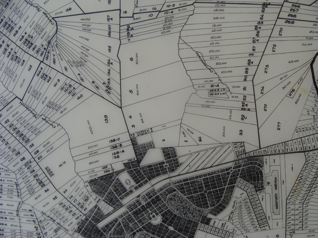 Mapa além do perímetro urbano - Década de 1950