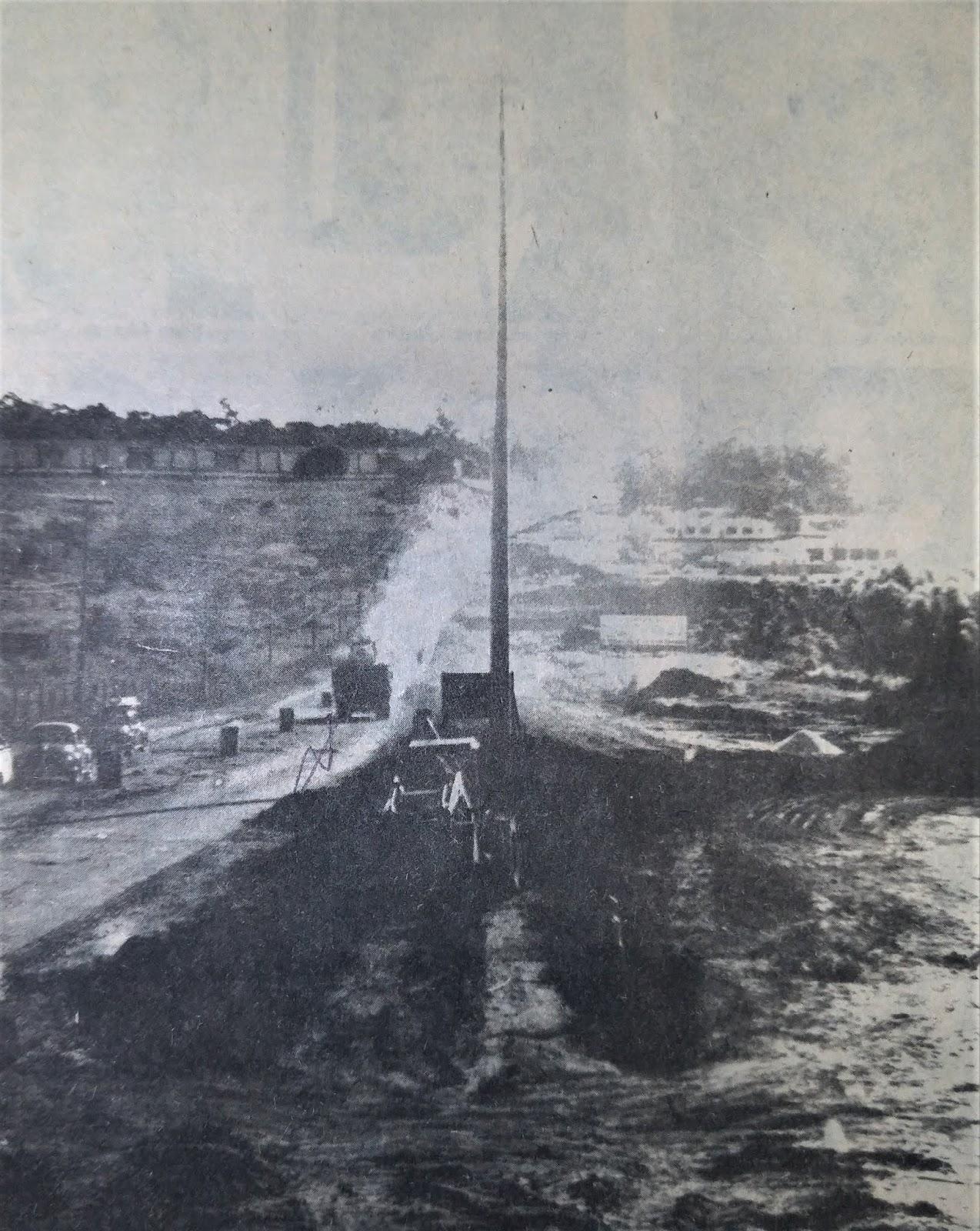 Obras no trecho final da avenida Colombo - 1985