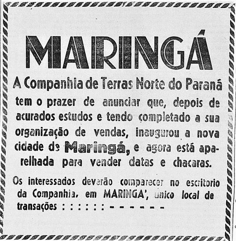 Anúncio - Início da venda de lotes em Maringá - 1947 (2ª postagem)