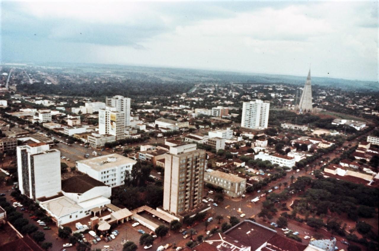 Vista aérea da região central - Década de 1970