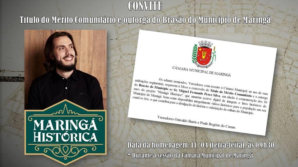 Homenagem ao projeto Maringá Histórica