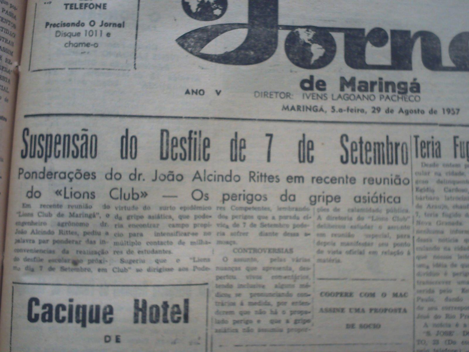 A gripe de 1957 em Maringá