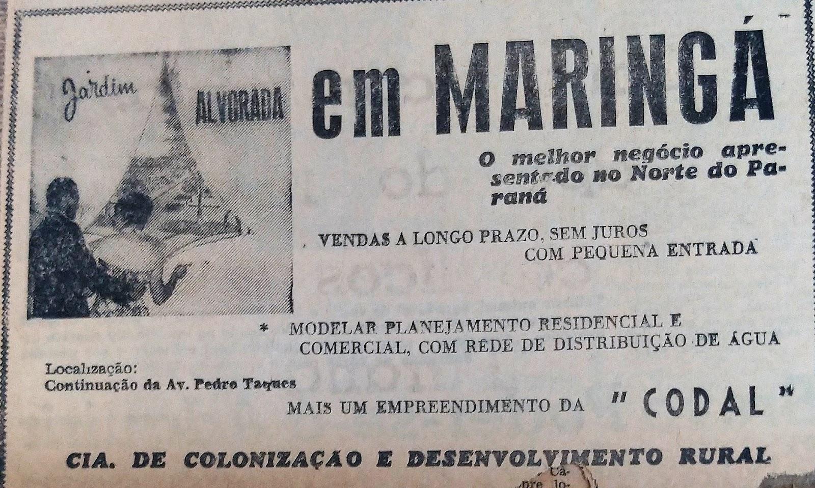 Anúncio sobre o Jardim Alvorada - 1962