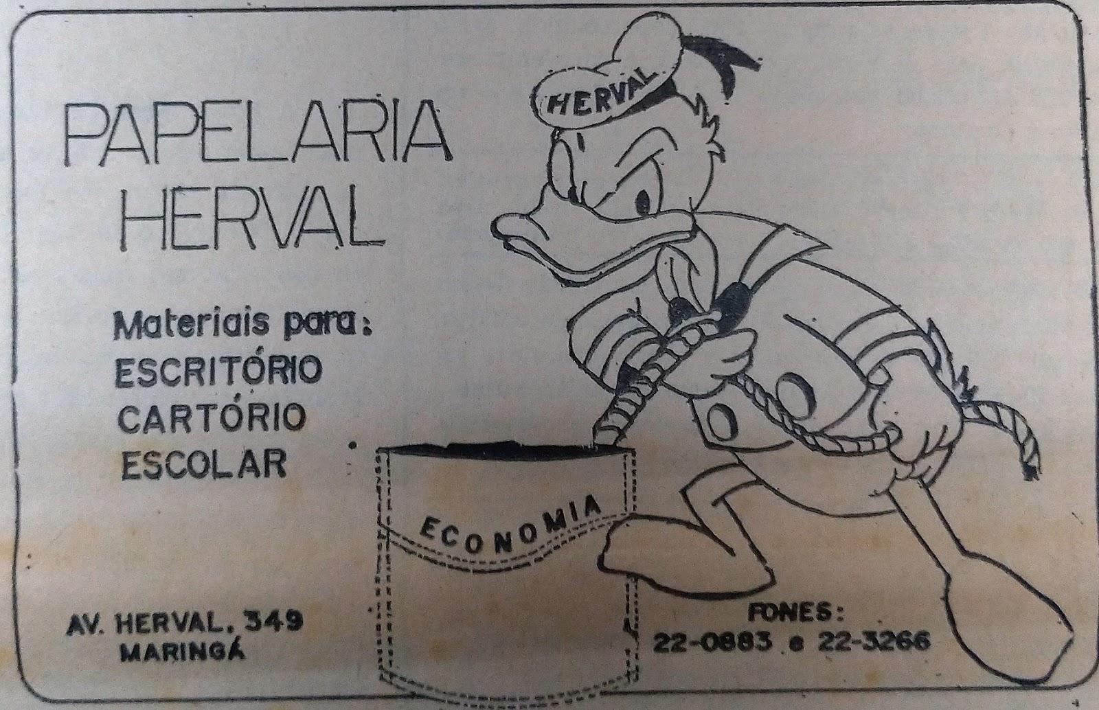 Anúncio: Papelaria Herval - 1978