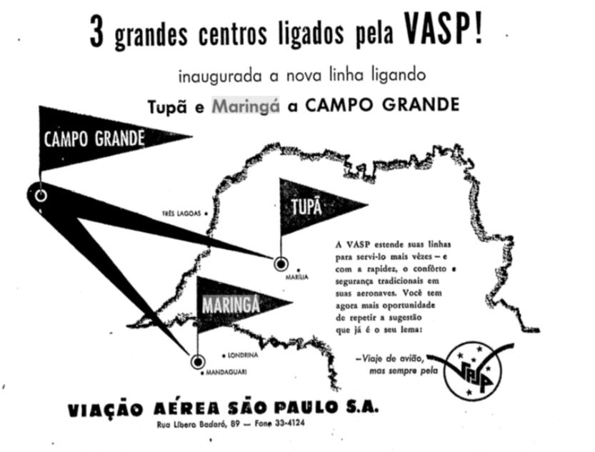 VASP inclui Maringá em sua nova rota - 1954