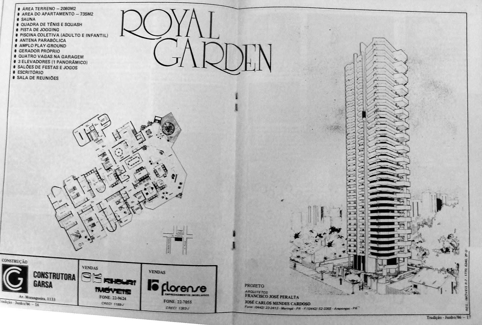 Anúncio do Edifício Royal Garden - 1986