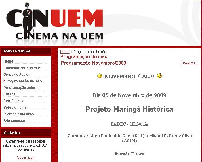 Maringá Histórica no CINUEM
