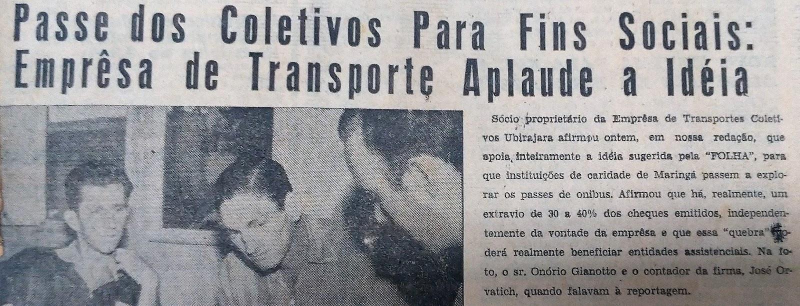 Transporte público com fins sociais - 1962
