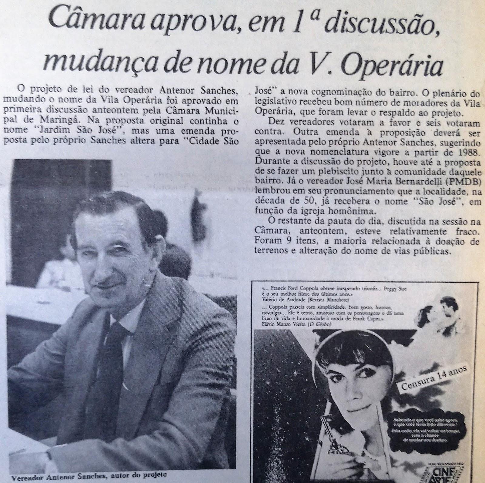 Mudança de nome da Vila Operária - 1987