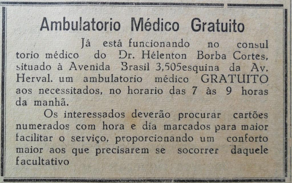 Ambulatório Médico Gratuito - Década de 1950