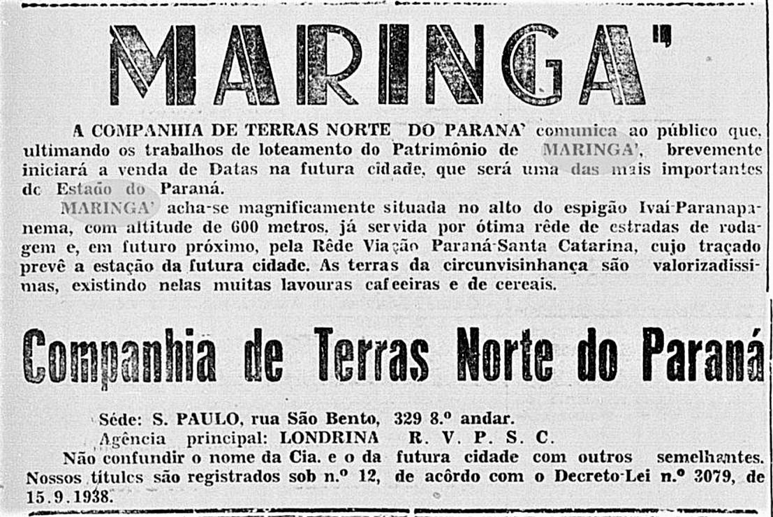 Anúncio - Início da venda de lotes em Maringá - 1947