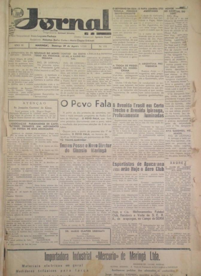 O Jornal de Maringá, diversas publicações da década de 1950 (parte 1)