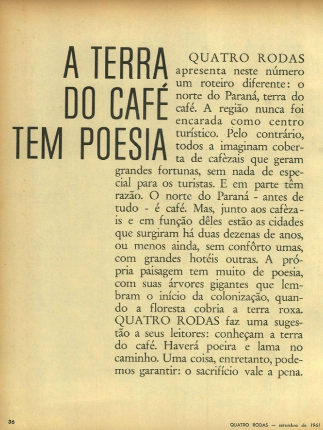 Revista 4 Rodas, de setembro de 1961
