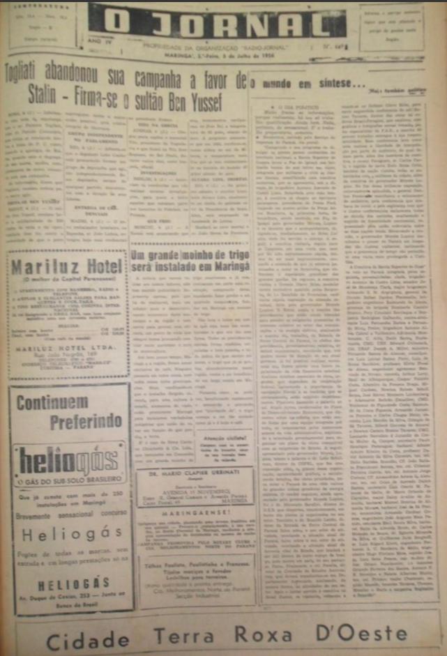 O Jornal de Maringá, diversas publicações da década de 1950 (parte 2)